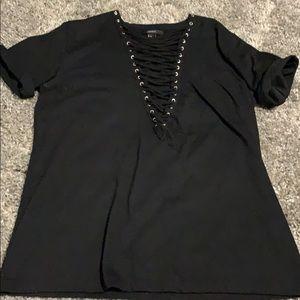 Black lace up top, size M